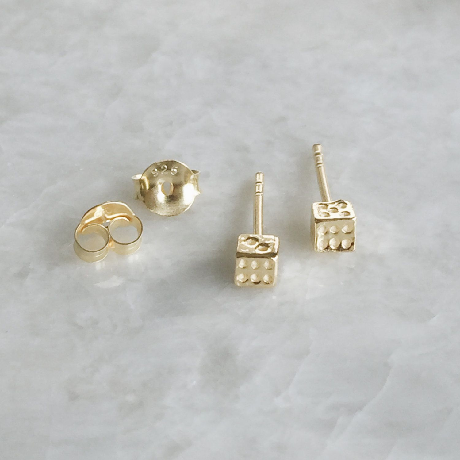 Tiny gold dice ear studs, Gold dice studs, dice earrings, Minimal studs, Cartilage stud, Funky studs (ES287) by SilverCartel on Etsy