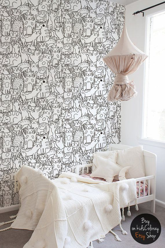 Doodle Cats Pattern, Black And White Wallpaper For Kids Room, Funny Wall  Mural, Self Adhesive, Removable, Reusable #89
