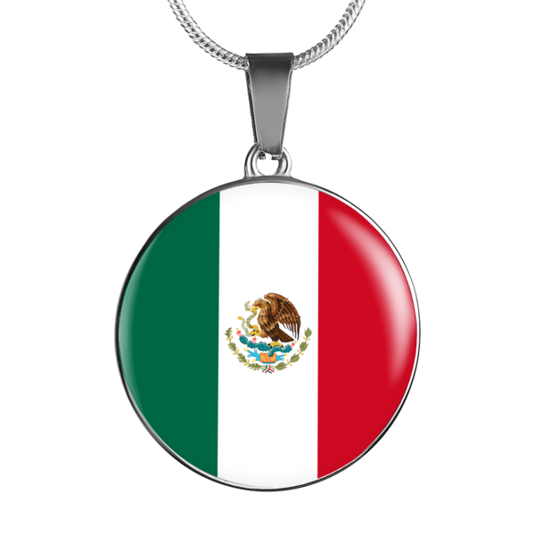 Mexican Flag Glass Pendant Necklace