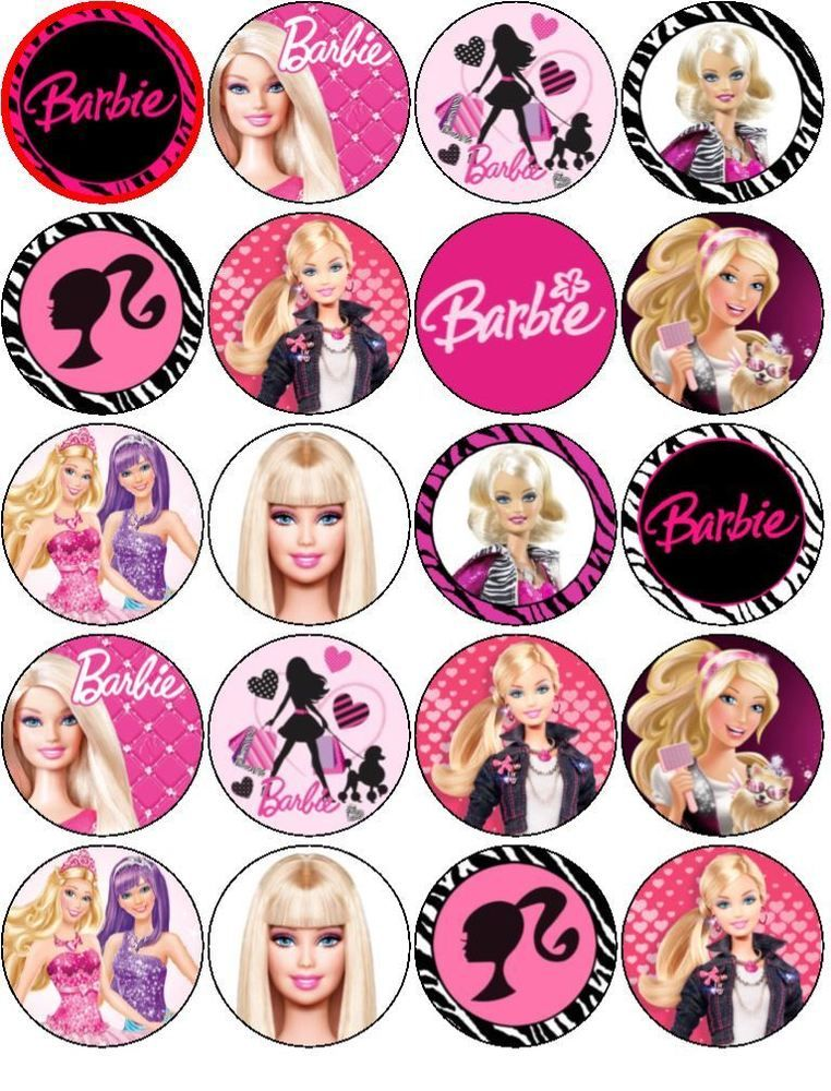 BARBIE V1 EDIBLE RICE WAFER PAPER TOPPERS MUFFIN CUPCAKE CAKE FAIRY CAKES