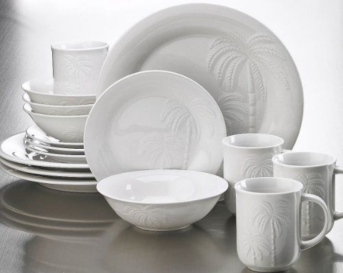 Coastal Dinnerware With Seashells | Florida Marketplace 16−pc. Embossed Palm Set & Coastal Dinnerware With Seashells | Florida Marketplace 16−pc ...