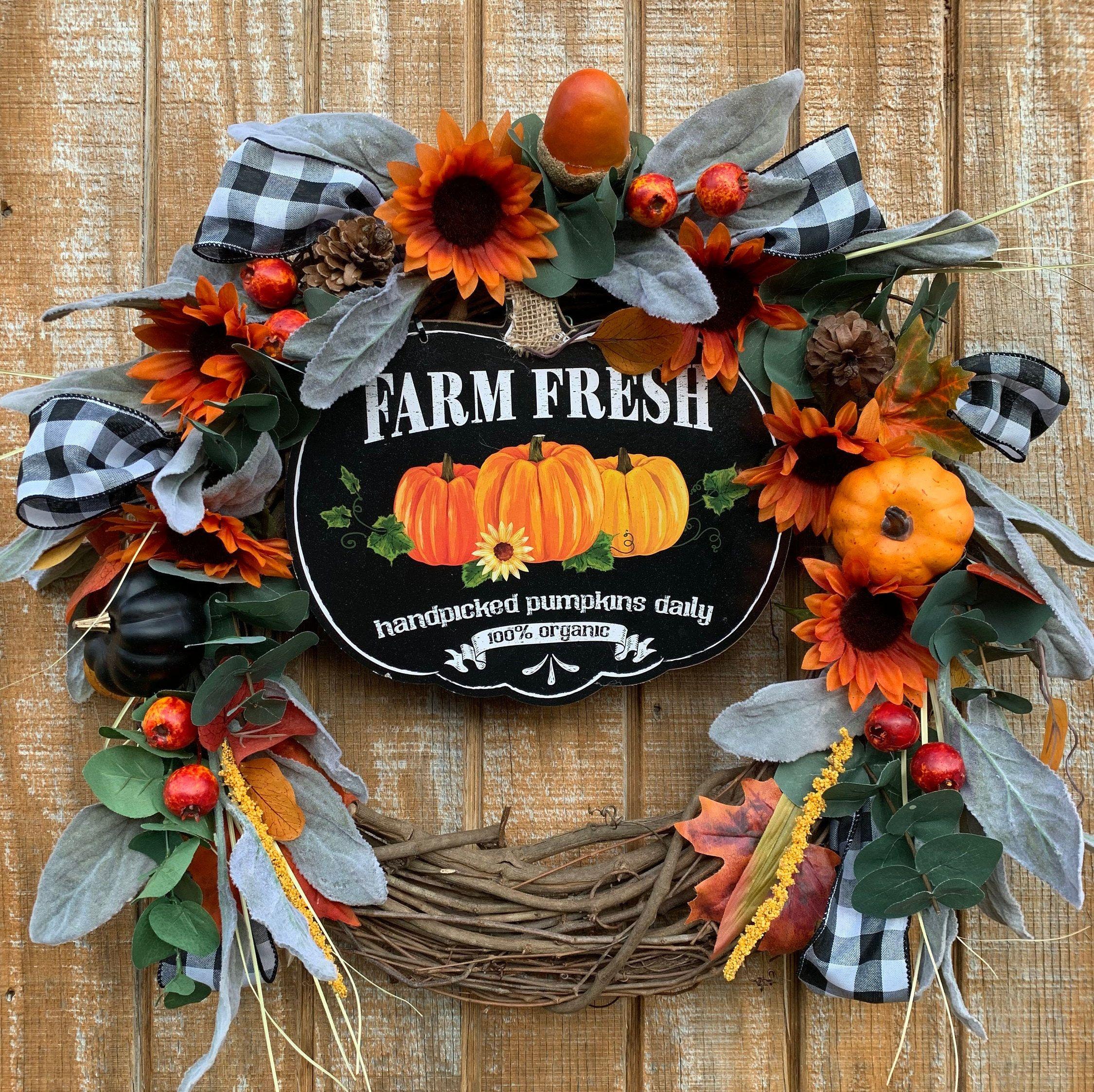 Fall pumpkin wreath pumpkin farm fall wreath