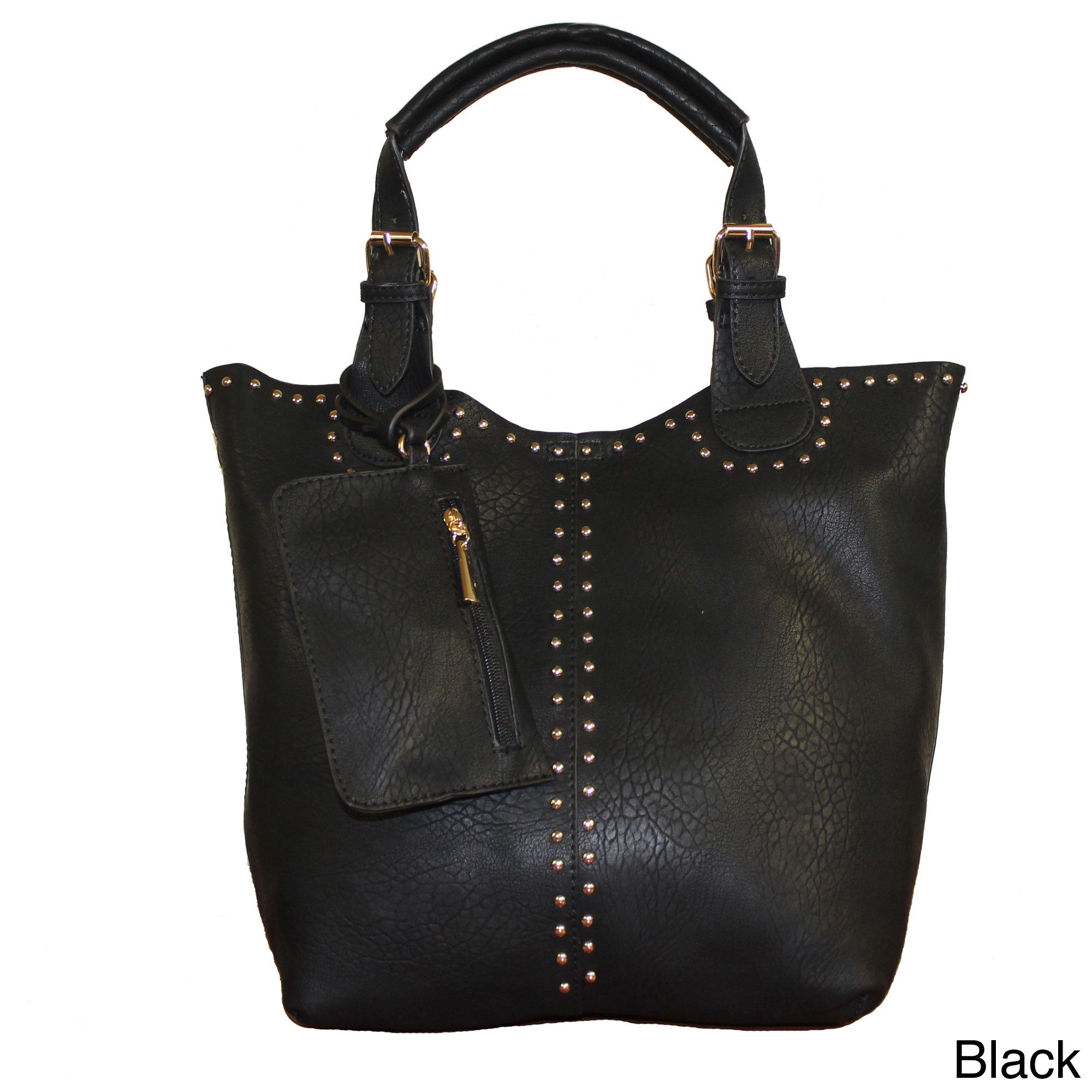 Add stylish flair to any look with the Faina 3-in-1 studded Tote by Lithyc. This vegan leather handbag features trendy metal stud trim and is a perfect blend of fashion, flair and function, ideal for day to evening wear.