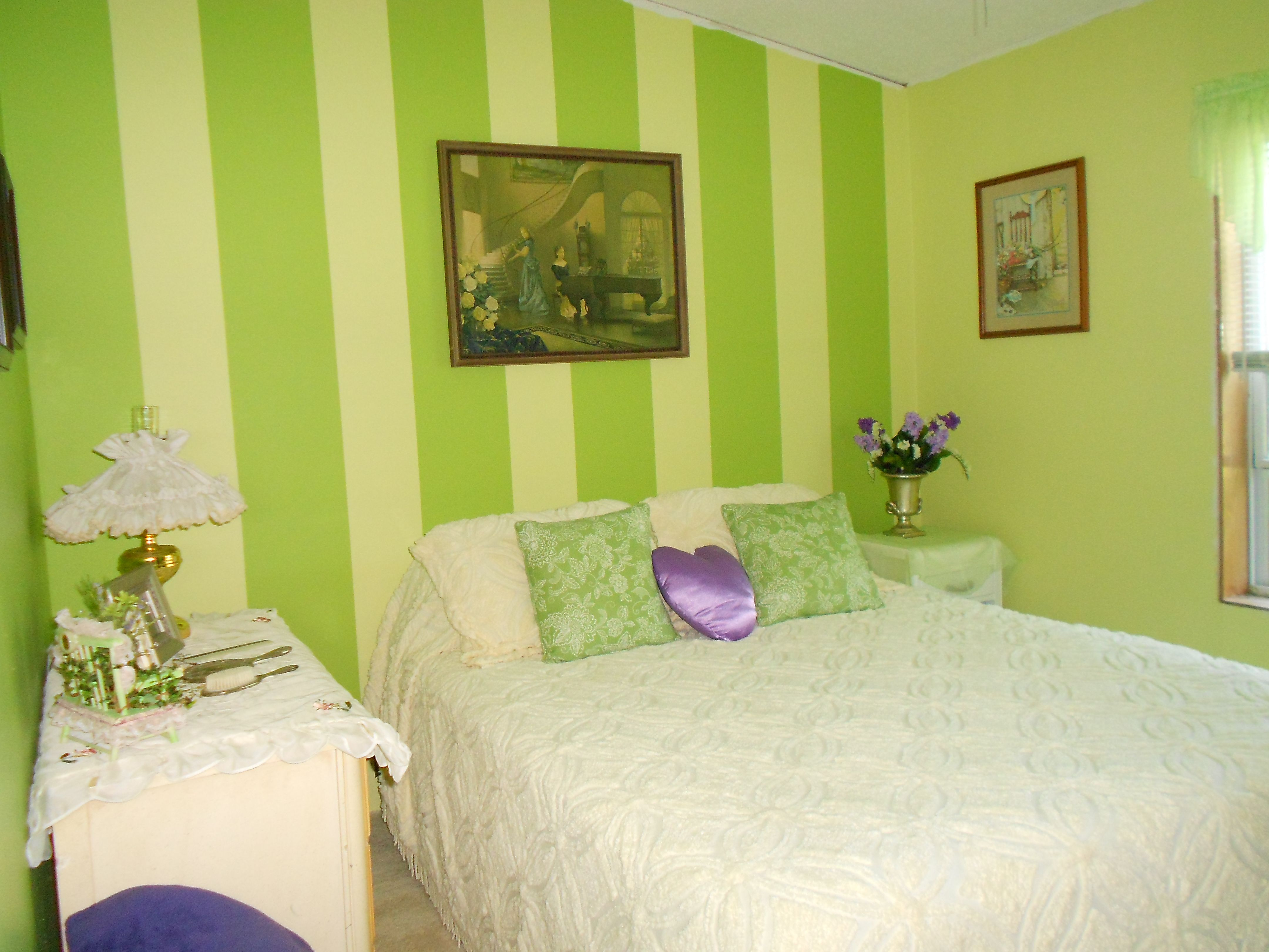 My guest bedroom in lime green and yellow stripes on one wall ...