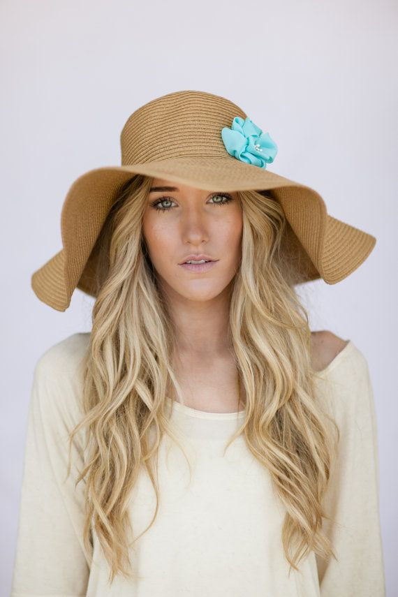 86bddbf24bc Oversized Floppy Sunhat Natural Sun Hat with Mint Flower Milliner Derby  Womens Fashion Beach Cap Summer Shade Hat Oversized Brim Brown via Etsy