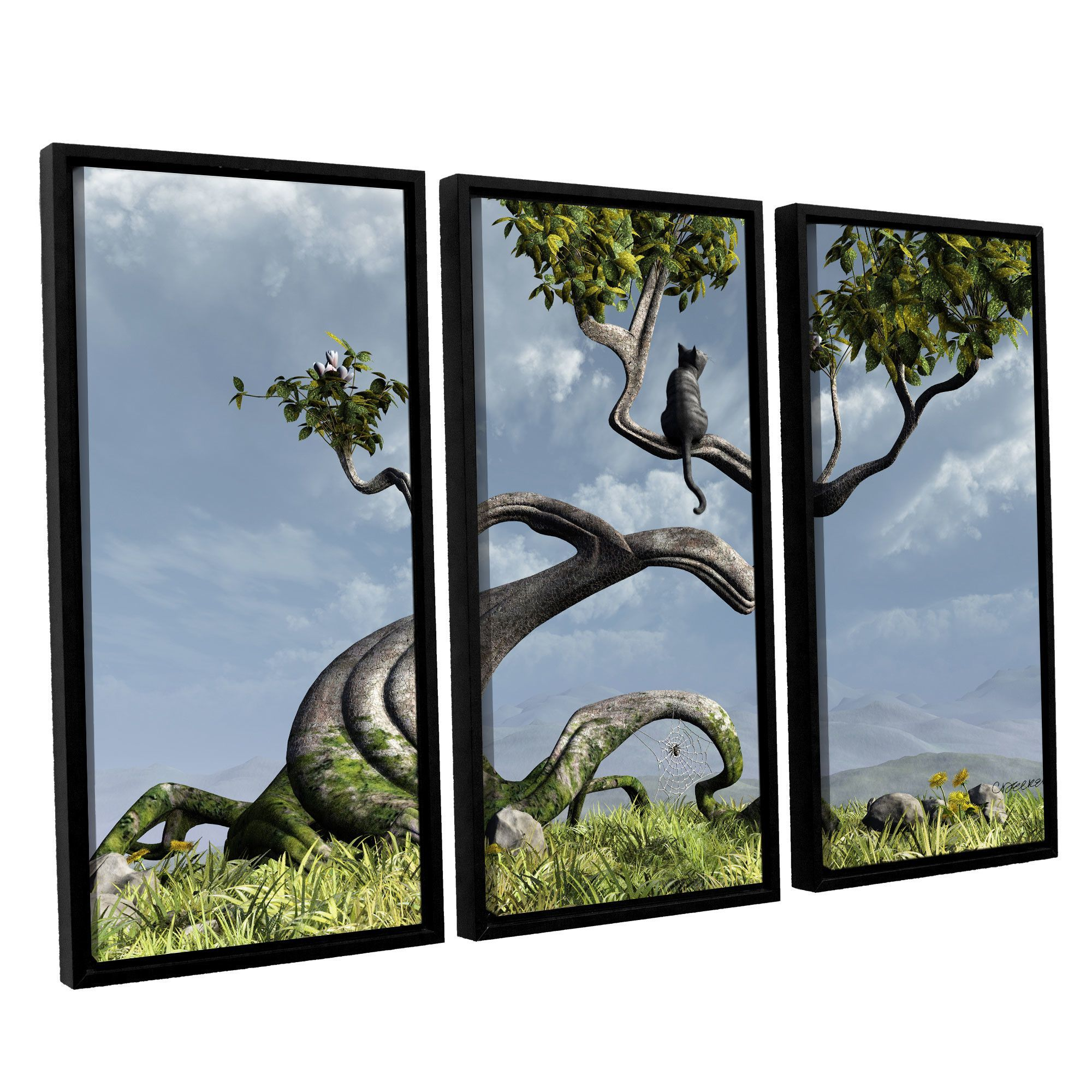 Sitting Tree by Cynthia Decker 3 Piece Floater Framed Canvas Set