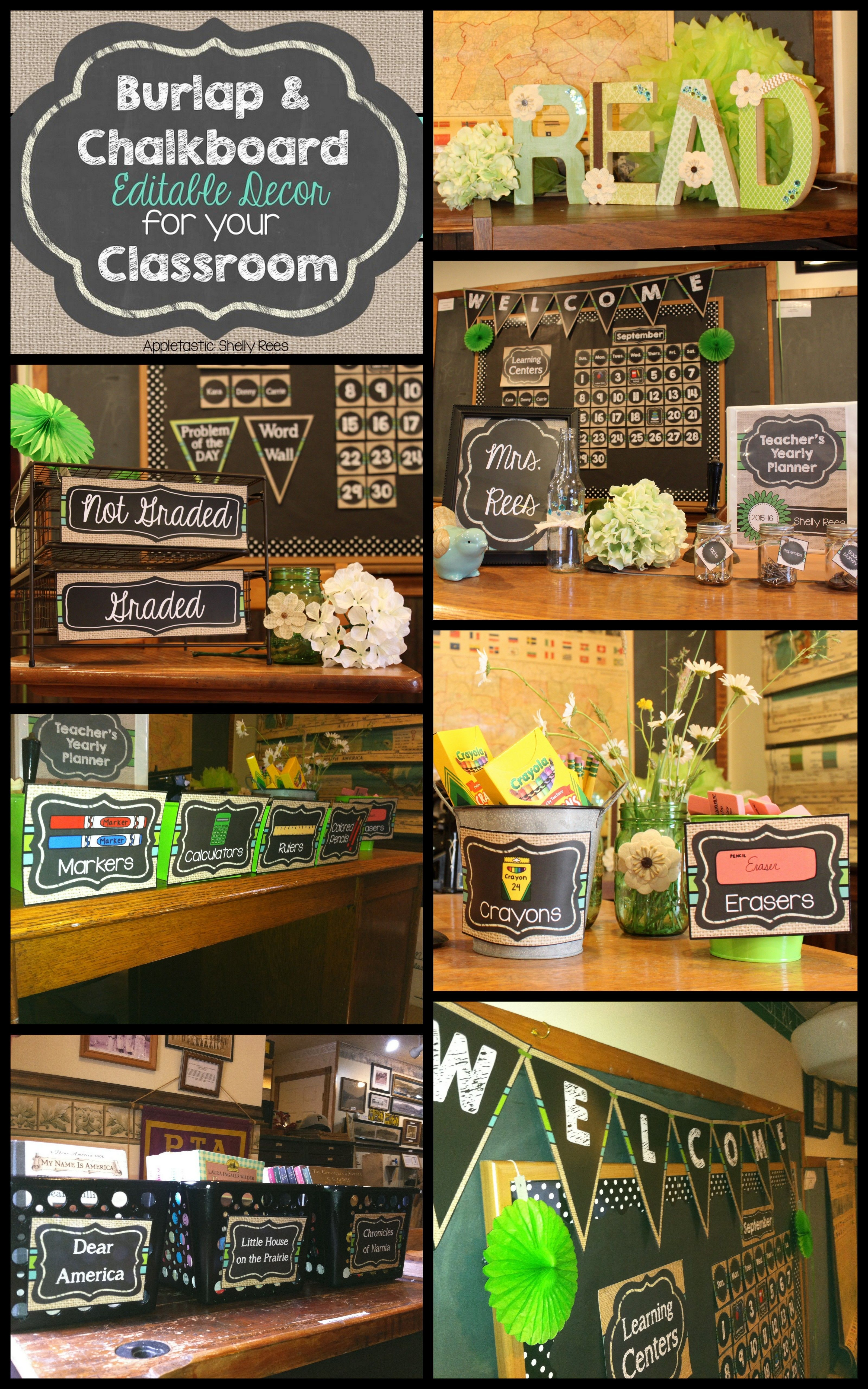 Editable Classroom Decor ~ Chalkboard and burlap classroom decor look at this