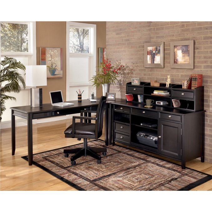 cadenza furniture. Ashley Carlyle L Desk Credenza Short Hutch Set - The Sleek Design Of Contemporary Styled Home Office Collection Brings A Rich Sophistication Cadenza Furniture