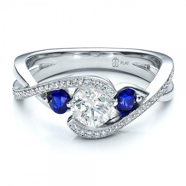 Custom Blue Sapphire and Diamond Engagement Ring Joseph Jewelry