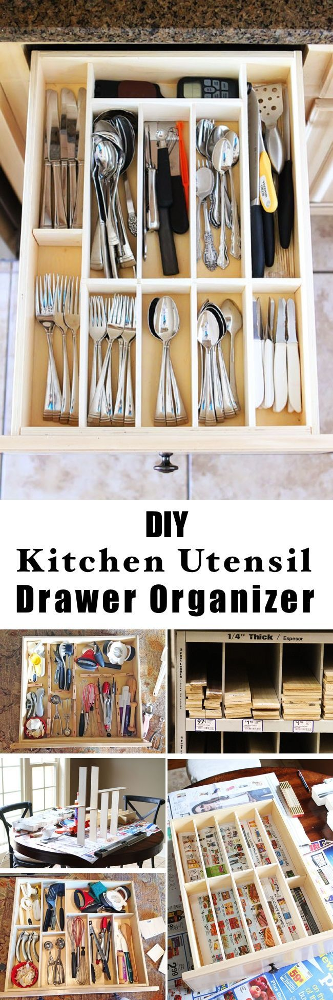 Diy Kitchen Utensil Drawer Organizer Diy Utensils Kitchen Organization Diy Diy Drawers
