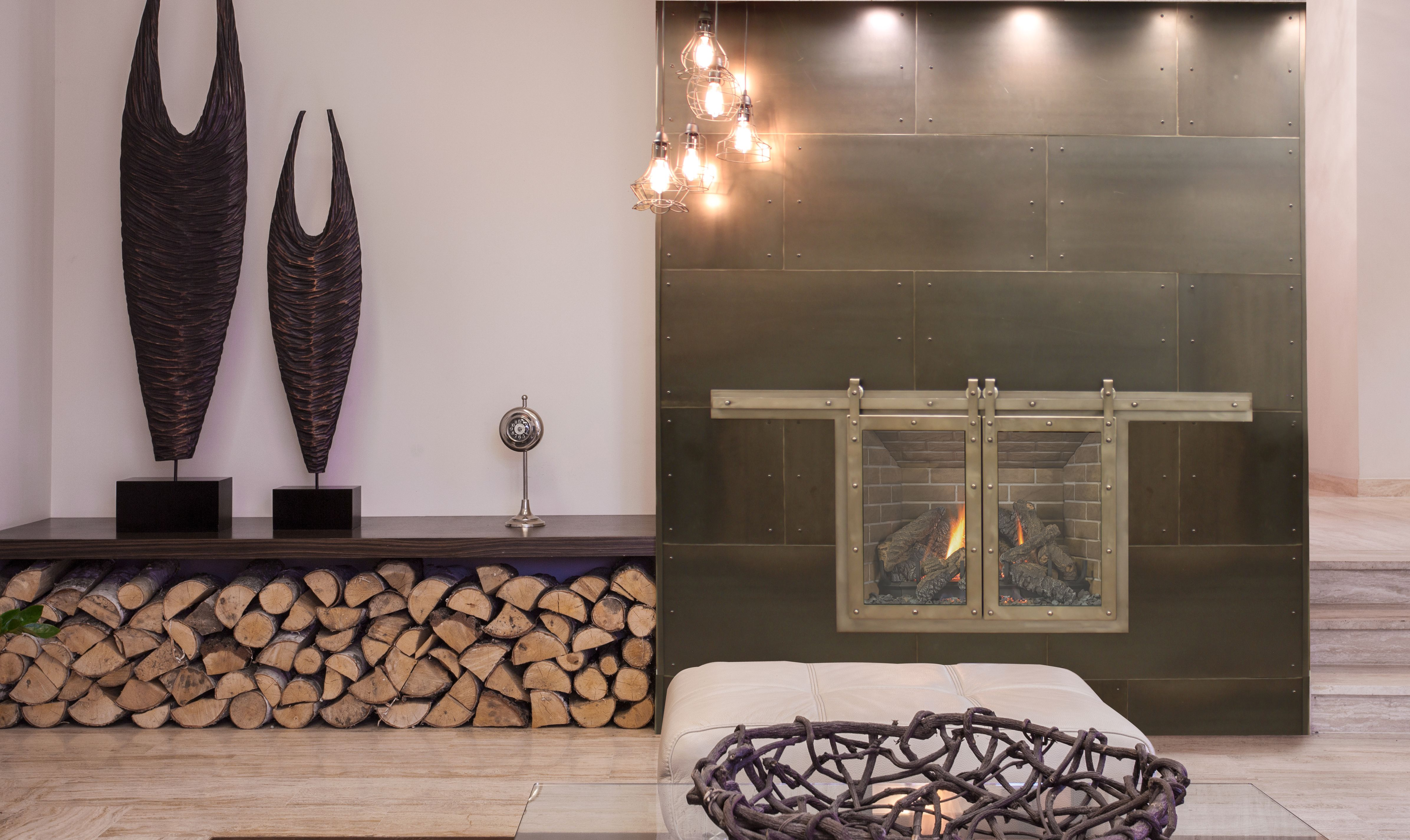 Rustic Sliding Fireplace Door Enhance The Beauty And Functionality