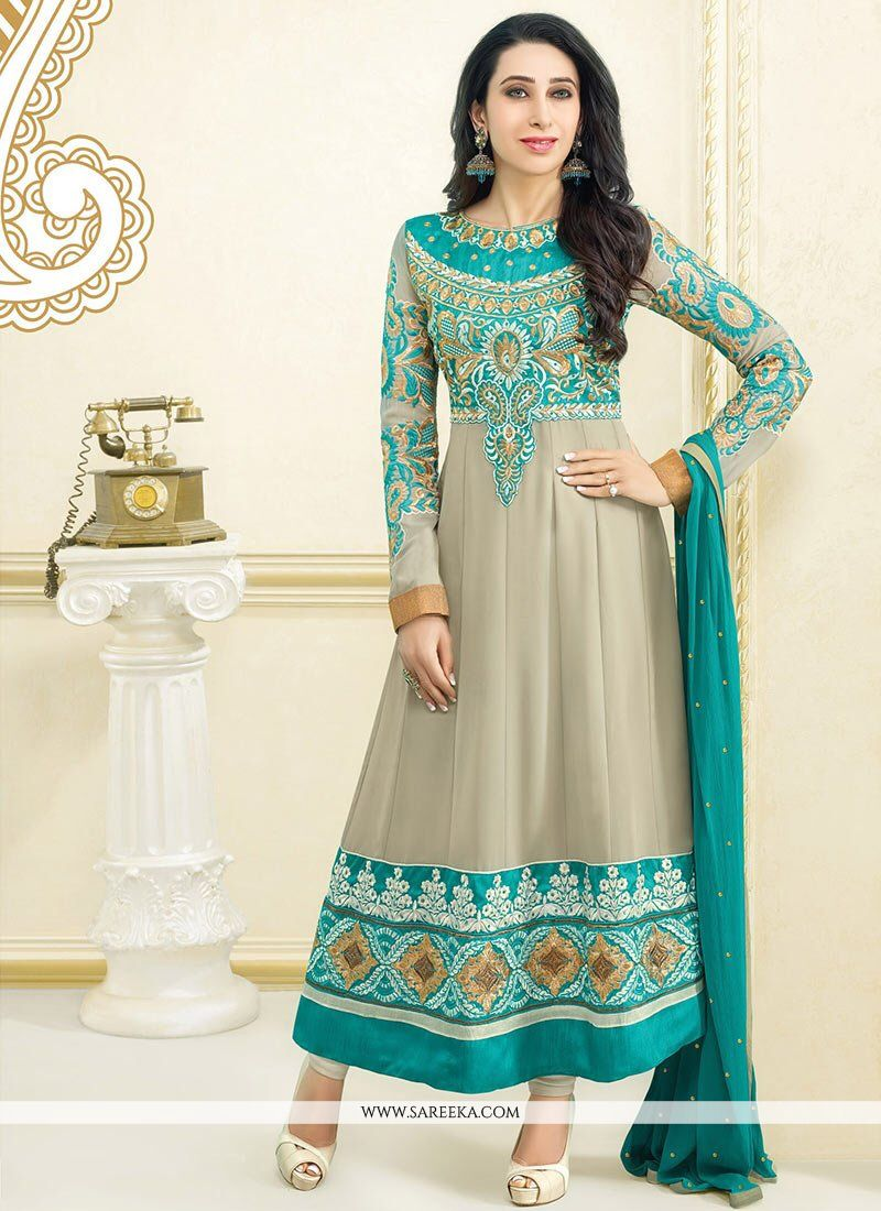 Krishma kapoor green and brown anarkali suit indian love