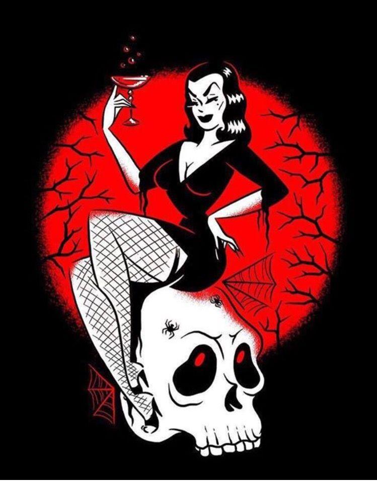 Pin by Richard Taylor on GIRLS, GREASE & GHOULS   Rockabilly art, Horror art, Halloween art