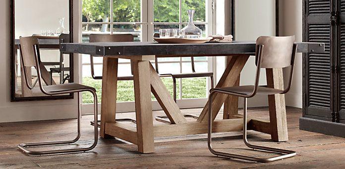 Salvaged Wood Concrete Beam Dining Table Restoration Hardware