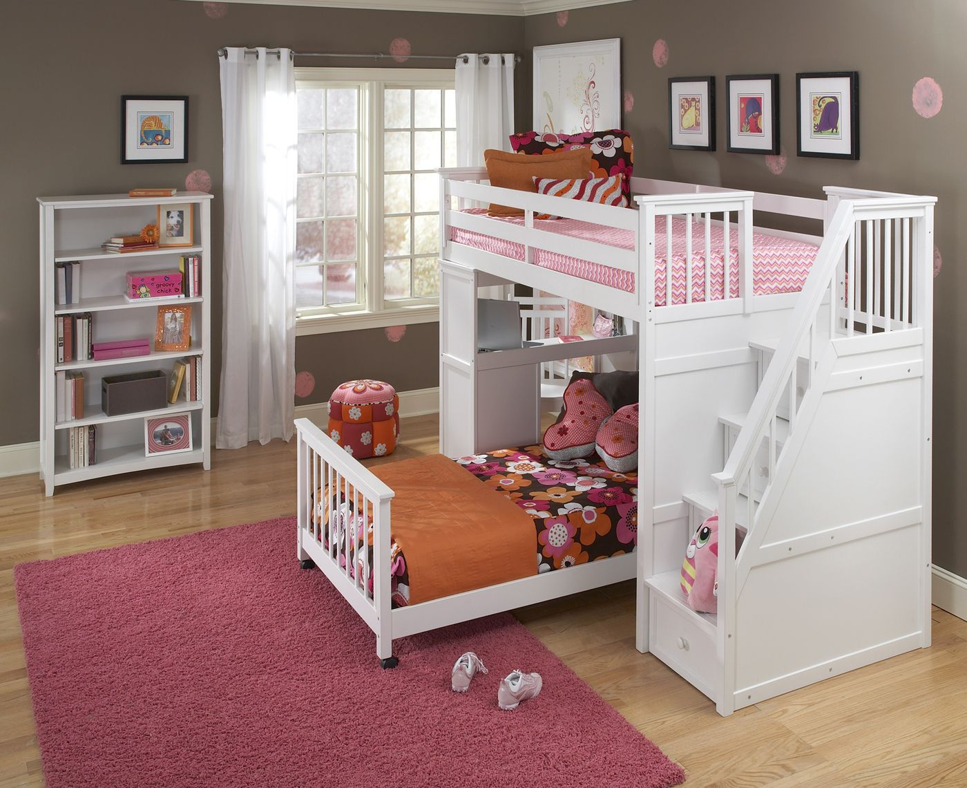 NE Kids School House Stair Loft Kids Bedroom Set with Tall