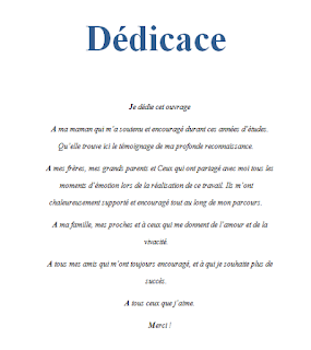 Exemples De Dédicace Pour Rapport Mémoires Et Pfe Exemple