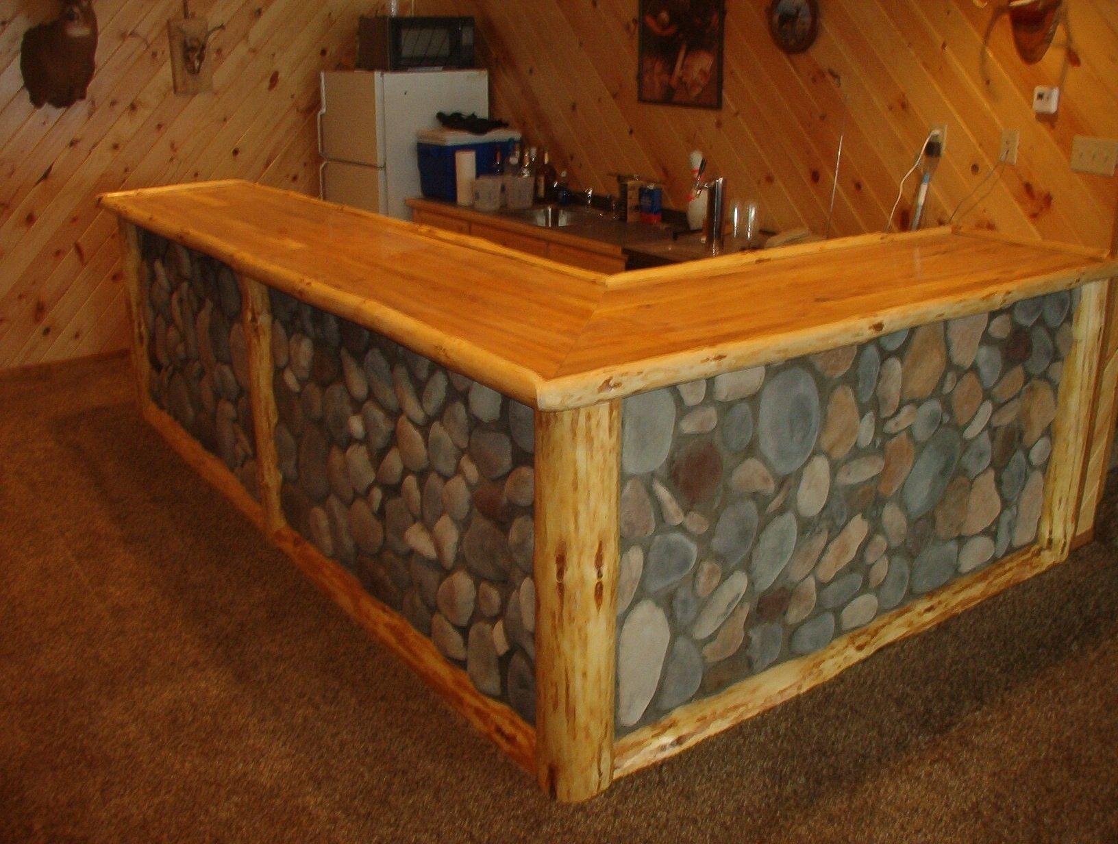 Images Of Rustic Bars | Corner View Of A Rustic Log Framed Stone Faced Bar.  Basement ...