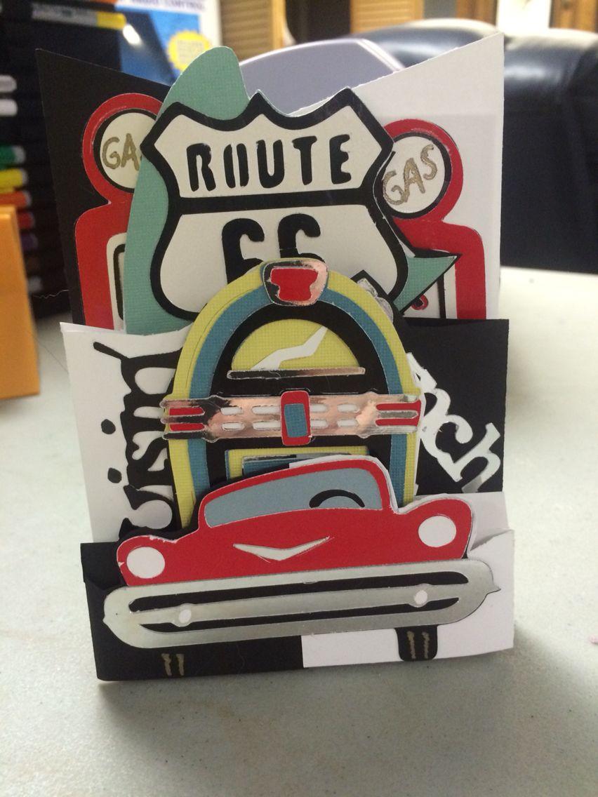 50s Themed Cascade Birthday Card Using Nifty Fifties Cricut