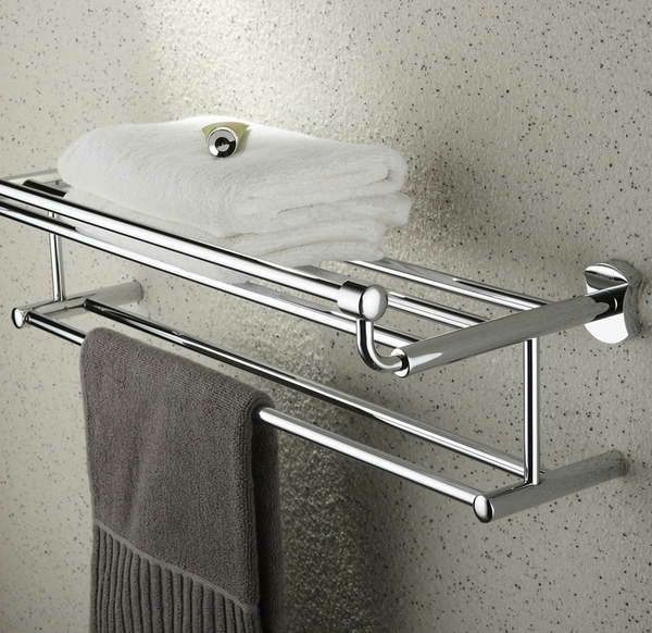 Wall Mounted Chrome Serviette Support Étagère salle de bain Étagère De Rangement Rail