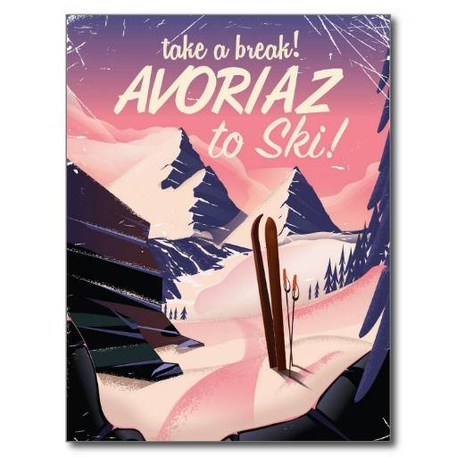 Avoriaz France Ski travel poster Postcard