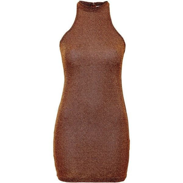 TOPSHOP **High Neck Bodycon Dress by Glamorous ($30) ❤ liked on Polyvore featuring dresses, rust, zipper dress, high neckline dress, zip dress, body con dress and high neck bodycon dress