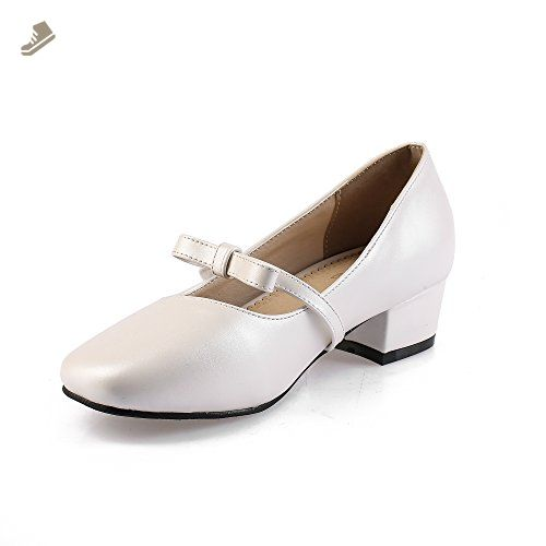 4aa1a024f83 BalaMasa Ladies Chunky Heels Square-Toe Low-Cut Uppers White Urethane Pumps  Shoes -