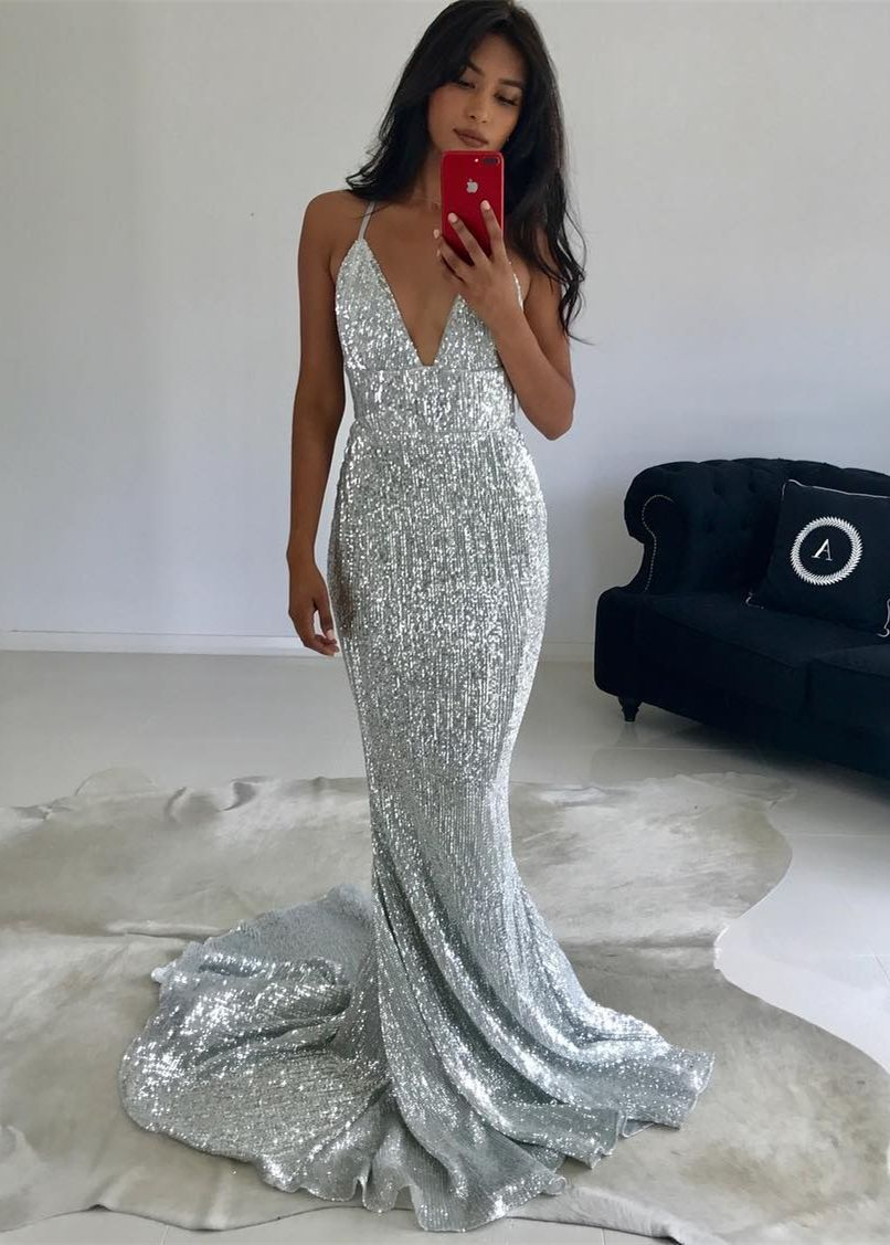 Mermaid vneck sweep train backless silver sequined prom dress in