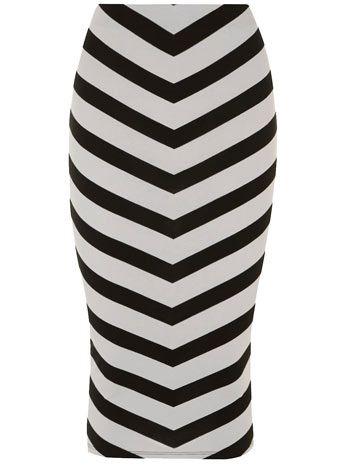 Grey chevron printed tube skirt