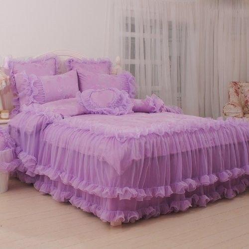Korean Bedding Sets Luxury Purple Lace Ruffle Bedding Set Wedding