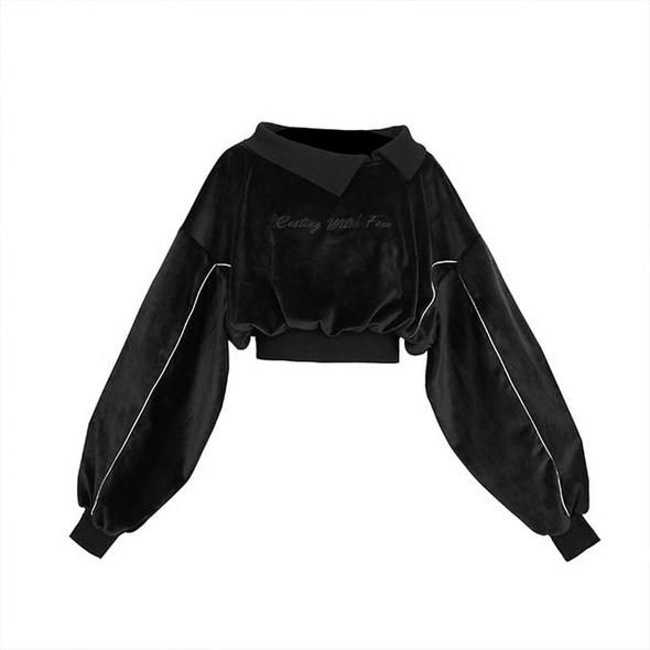 Women'S Sets Gothic Letter Embroidery Velvet Sweatshirt High Waist Bandage Gray Plaid Mini Skirt Girls Female Set Outwear – Fashion