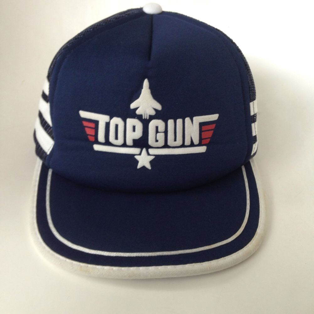 718f0d9210b Vintage 80s Top Gun Movie Trucker Hat Mesh Snapback Blue White Stripes  Costume