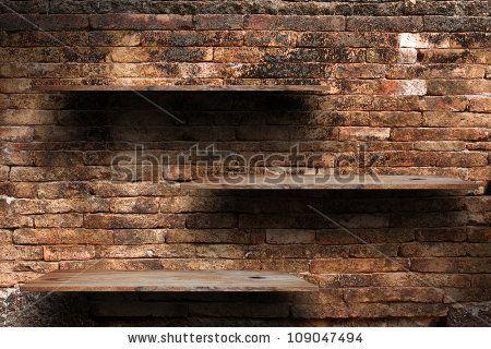 Brick Wall Shelves Empty Wood Shelf On Old Brick Wall Background