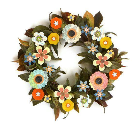 Wreath  14 Spring Flowers  All Season Wreath by FlightyFleurs