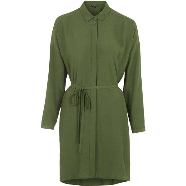 TOPSHOP Self-Tie Shirt Dress ($68) Liked On Polyvore
