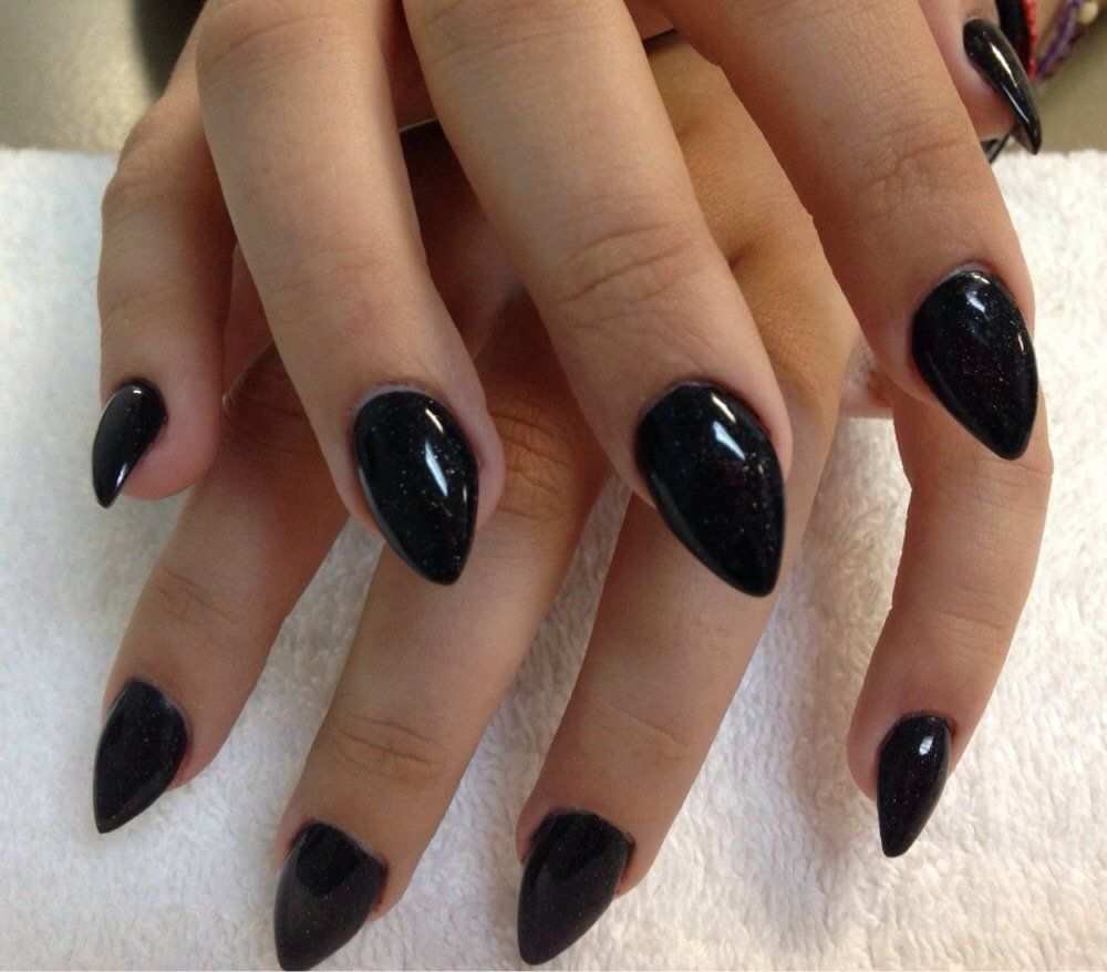 Fun stiletto nails with black acrylic overlay | Yelp | nail art ...