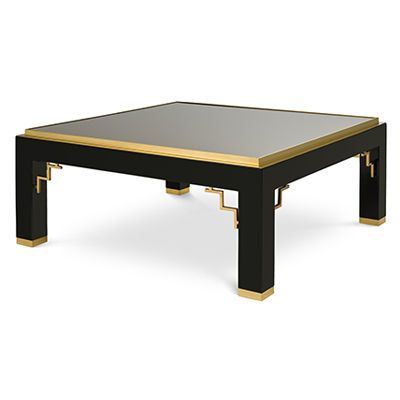 Flair Exclusive Angled Brass And Black Lacquer Coffee Table With