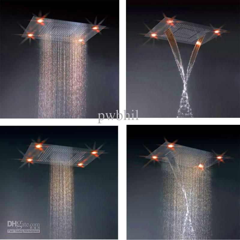 Recessed Ceiling 304 Stainless Steel Led Waterfall Rain Shower