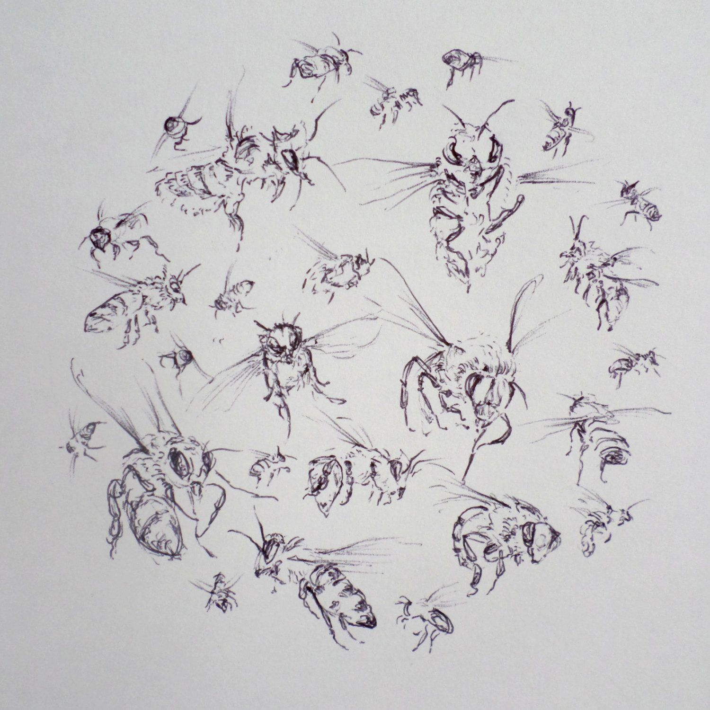 bees original illustration bees in flight honey bee art bumble