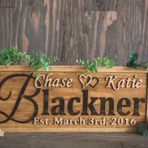 personalized wedding gift family name sign custom carved wooden