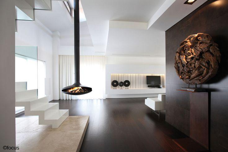 cheminee gyrofocus foyer central suspendu pivotant à bois #design