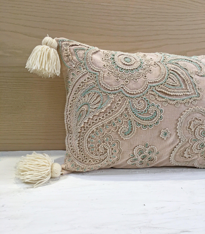 Blush Off White Sea Green Cotton Poly Blend Pillow Luxury