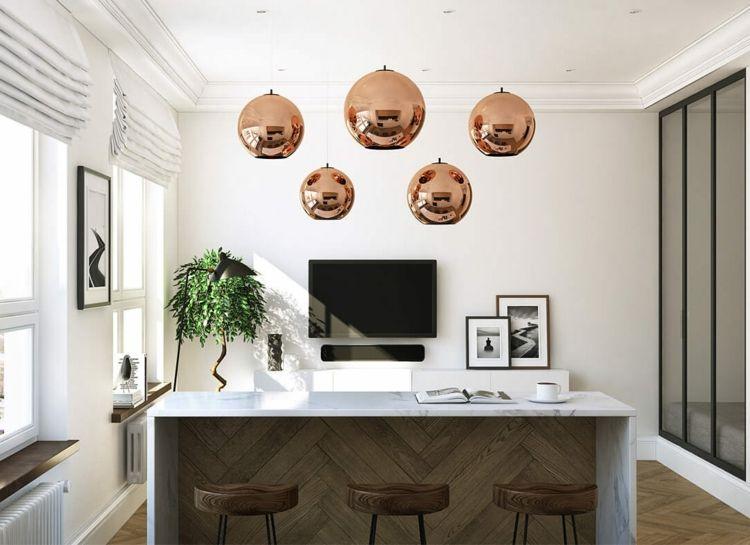 Wohnzimmer Bar  Marmorplatte Pendelleuchten Barhocker Stehelampe Fernseher Bilder Kaffeetasse