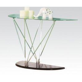 Acmef80752 Chrome Bk Sofa Table W Gl Top