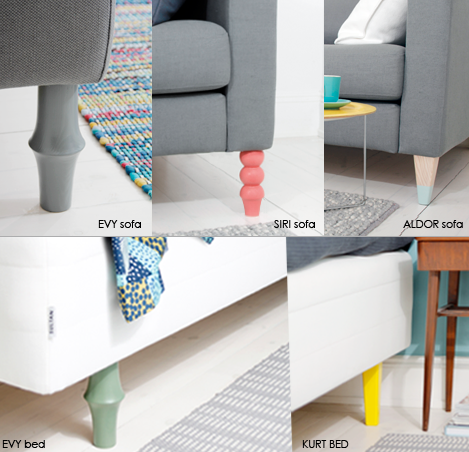Swedish company prettypegs makes furniture legs for for Ikea sofa legs interchangeable