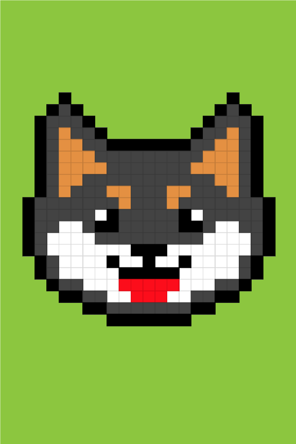 Easy Pixel Art Dogs Black Shiba Pixel Art Facile Chiens