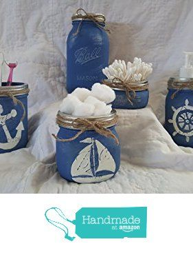 Nautical Mason Jar Bathroom set from KraftingSpirits https://www.amazon.com/dp/B01MZ7I97O/ref=hnd_sw_r_pi_awdo_0pMhzb4DSN58G #handmadeatamazon