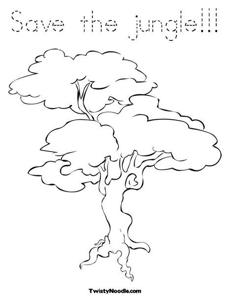 Jungle Tree Tree Coloring Page Coloring Pages Jungle Tree