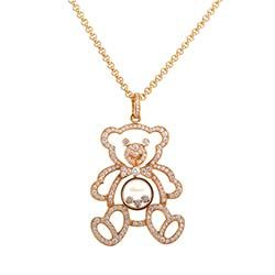 Jewels Obsession Teddy Bear With Heart Necklace Rhodium-plated 925 Silver Teddy Bear With Heart Pendant with 18 Necklace