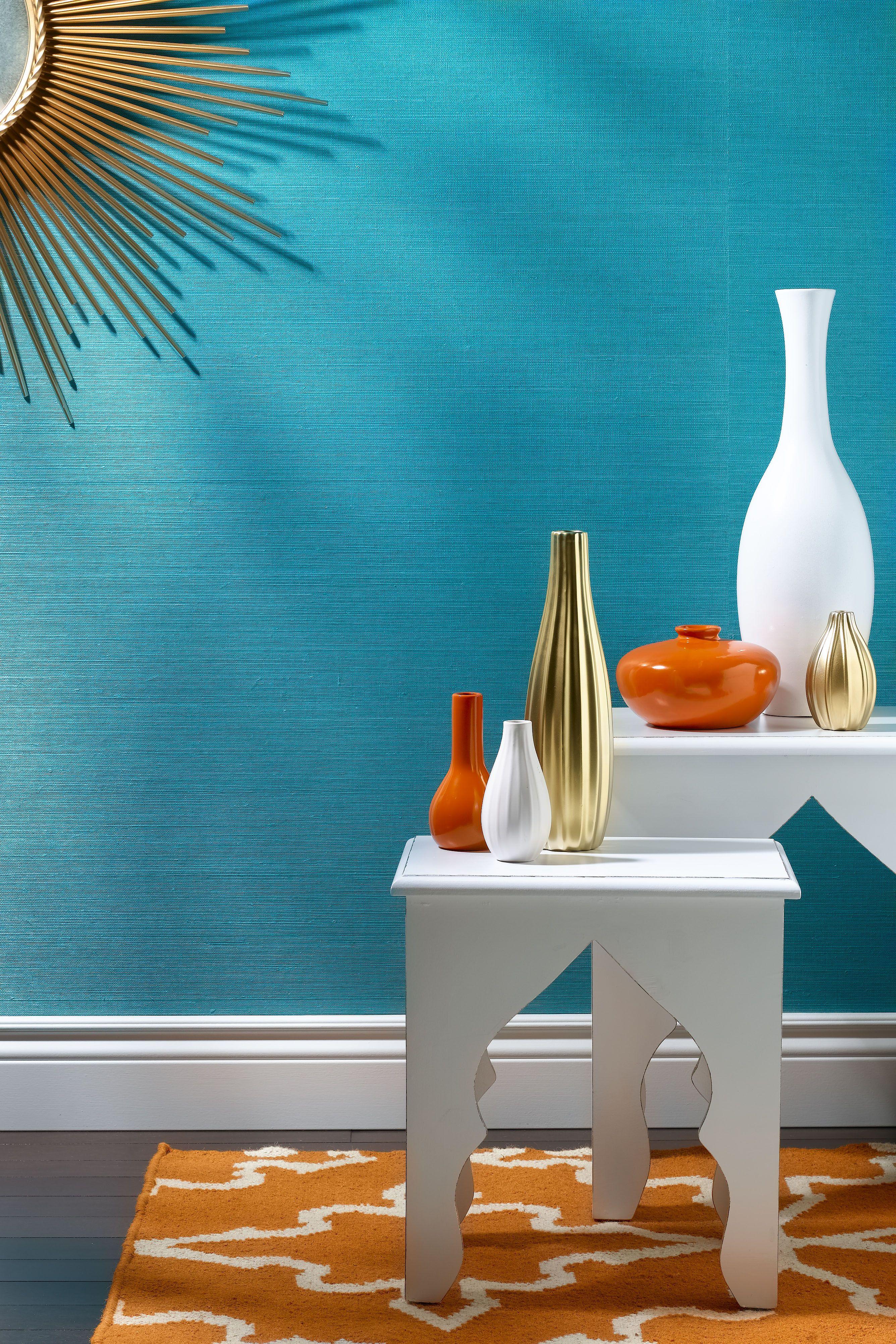 Webster Phillip Jeffries Interior Design Wallcoverings Naranja Y Turquesa Decoracion Gris Decoracion De Comedor