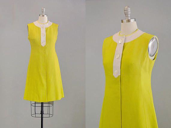 957500db1b 60s Dress    1960s Chartreuse Linen Empire Shift Dress    M ...